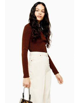 Button Placket Knitted Top by Topshop