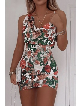 Fashion Influx White Floral Satin Asymmetric Cowl Neck Mini Dress by In The Style