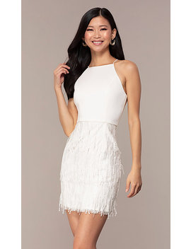 Short High Neck Sleeveless White Graduation Dress by Promgirl