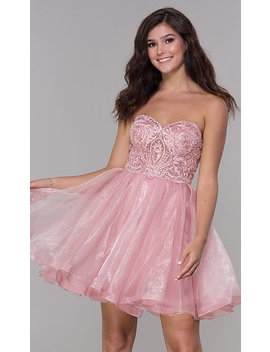 Pink Short Strapless Sweetheart Homecoming Dress by Promgirl