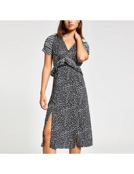 Black Polka Dot Puff Sleeve Midi Dress by River Island