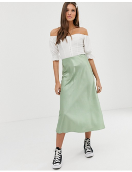 New Look Satin Bias Cut Midi Skirt In Light Green by New Look
