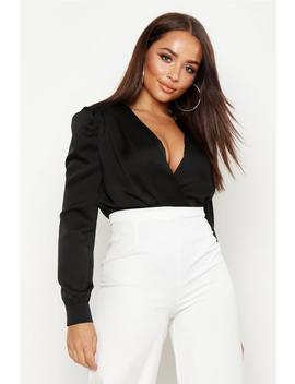 Satin Wrap Front Bodysuit by Boohoo