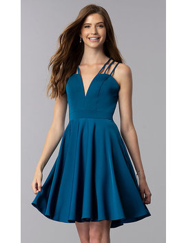 Short Teal Homecoming Dress With Triple Straps by Promgirl