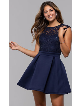 Sequin Lace Bodice Short Party Dress By Prom Girl by Promgirl