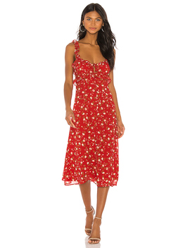 Isabel Midi Dress In Red Emma Floral by Privacy Please