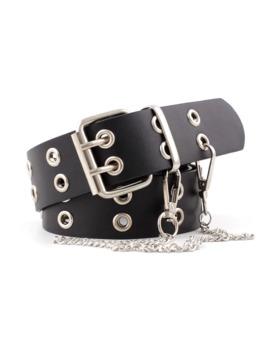 Olome Vintage Women Punk Chain Belt Black Double Single Eyelet Grommet Leather Buckle Belt Female Ladies Waist Jeans Belts by Ali Express.Com