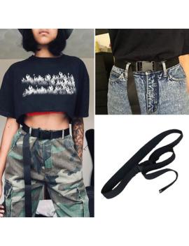 Fashion Black Canvas Belt For Women Casual Female Waist Belts With Plastic Buckle Harajuku Solid Color Long Belts Ceinture Femme by Ali Express.Com