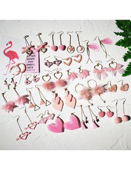 Women's Pink Heart Shape Cute Drop Earrings Stylish Korean Style Elegant Fashion Jewelry Drop Earrings For Girls Petal Earrings by Ali Express.Com