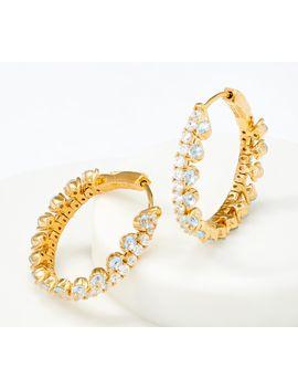 Diamonique Flexible Hoop Earrings, Sterling Silver by Round Cut