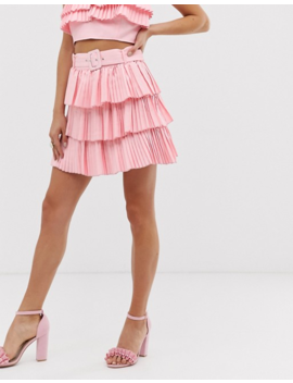 In The Style X Dani Dyer Pleated Frill Mini Skirt In Pink by Skirt