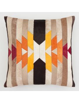Solar Patchwork Leather Hide Throw Pillow by World Market