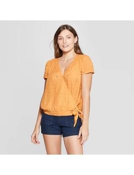 Women's Short Sleeve V Neck Print Wrap Top   Universal Thread Yellow by Neck Print Wrap Top