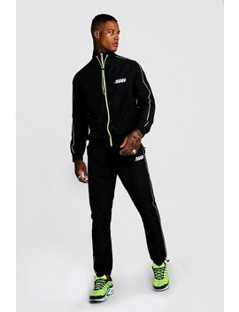 M Orbit Shell Funnel Neck Neon Detail Tracksuit by Boohoo Man