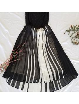 Ny&Co Black/White Stripe Pleated Mini Skirt by New York & Company