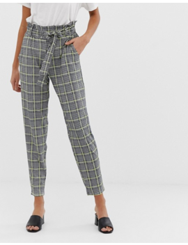 Qed London Paperbag Waist Peg Pants In Houndstooth With Neon Yellow Check by Pants