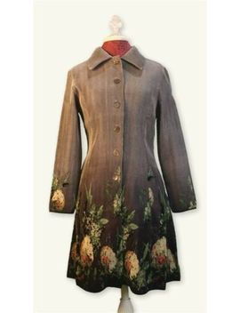 Victorian Trading Co Silver Gray Hydrangea Floral Coat Dress 1 X 13 A by Victorian Trading