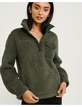 Sherpa Snap Up Sweatshirt by Abercrombie & Fitch