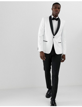 Asos Design Skinny Tuxedo Suit Jacket In White With Black Lapels by Asos Design
