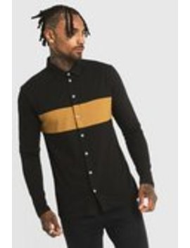 Colour Block Muscle Fit Jersey Long Sleeve Shirt by Boohoo Man