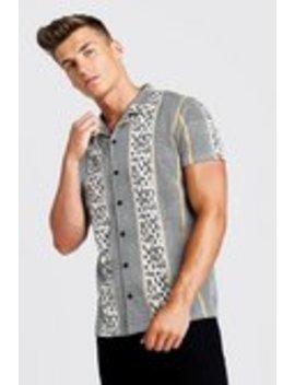 Multi Jacquard Short Sleeve Revere Shirt by Boohoo Man