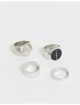 Bershka – Silberfarbene Ringe Im 3er Pack by Asos