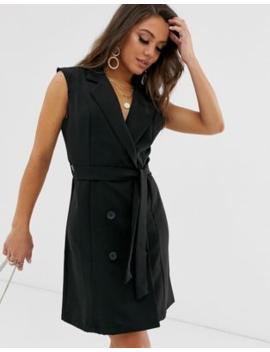 Boohoo Sleeveless Tux Dress In Black by Boohoo