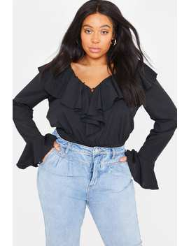 Curve Lorna Luxe 'fantine' Black Button Neckline Flare Sleeve Bodysuit by In The Style