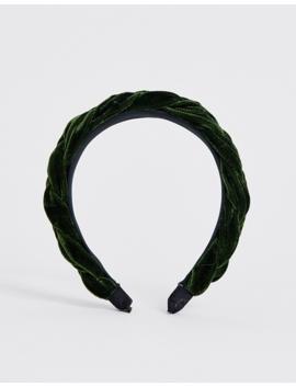 My Accessories London Exclusive Khaki Green Velvet Plaited Headband by My Accessories