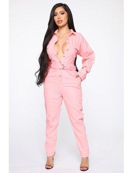 Alexa Denim Utility Jumpsuit   Candy Pink by Fashion Nova
