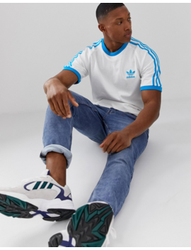 Adidas Originals California T Shirt In White Blue by Adidas Originals
