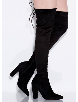 Perfect Chunky Tied Thigh High Boots by Go Jane