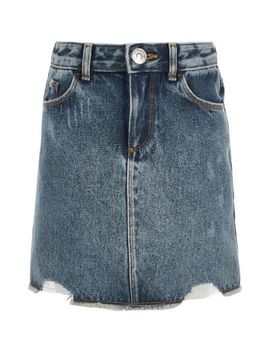 Girls Blue Ripped Denim Skirt by River Island