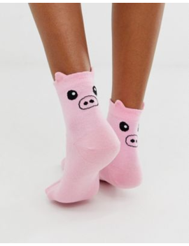 Asos Design Pig Ankle Socks In Pink by Asos Design