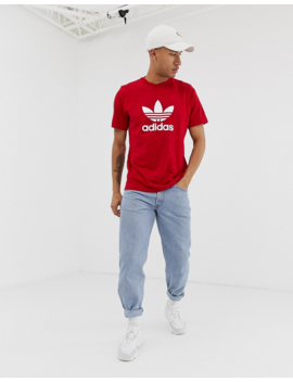 Adidas Originals Trefoil T Shirt In Red by Adidas Originals