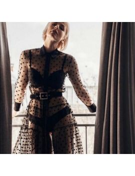 Bnwt Zara Bloggers Fav Tulle Polka Dot Sheer Black Tunic Top Dress Xs S by Zara