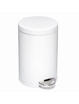 Simplehuman White 1.2 Gal. Round Step Trash Can by Container Store