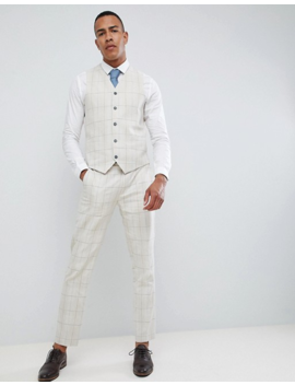 Gianni Feraud Tall Skinny Fit Wedding Windowpane Check Waistcoat by Asos
