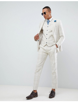 Gianni Feraud Tall Skinny Fit Wedding Windowpane Check Suit Cropped Trousers by Asos