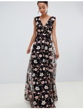 True Decadence Tall All Over Embroidered V Neck Maxi Dress by True Decadence Tall