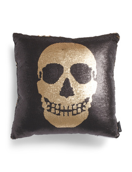 18x18 Reverse Sequin Skull Pillow by Tj Maxx