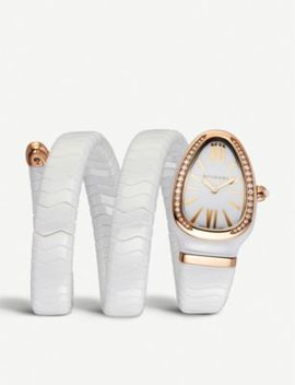 Serpenti Spiga 18ct Rose Gold And Diamond Watch by Bvlgari