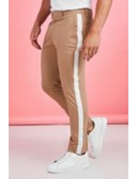 Tape Detail Smart Cropped Skinny Trouser by Boohoo Man