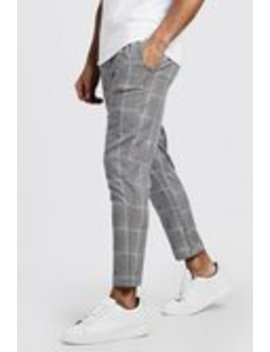 Prince Of Wales Cropped Smart Jogger by Boohoo Man