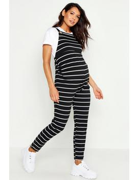 Maternity Stripe Dungaree by Boohoo
