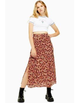 Floral Pleat Side Button Midi Skirt by Topshop