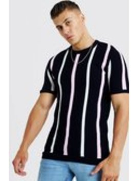 Knitted T Shirt With Stripe by Boohoo Man