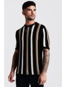 Regular Fit Vertical Stripe Knitted T Shirt by Boohoo Man