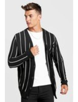 Vertical Stripe Knitted Cardigan by Boohoo Man