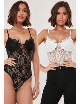 Black And White 2 Pack Lace Bodysuit by Missguided